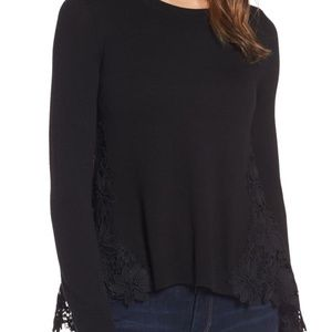 chelsea28 black lace back sweater  top size xsmall